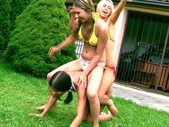 Outdoor lesbo with THREE teens!