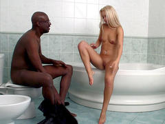 teen getting fucked by black cock in bathroom