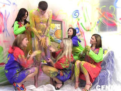 5 Amateur Teens in CFNM Orgy