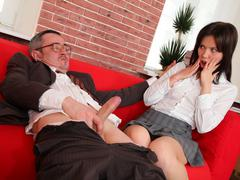 This tricky old teacher gets off on seeing two of his students make out