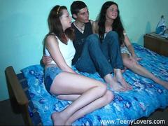 Teens enjoy a threesome
