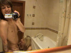curvy teen whore gives a good blow job in bathroom