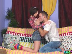 shaved brunette teen getting penetrated