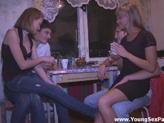 shaved girlfriend gangbanged on party
